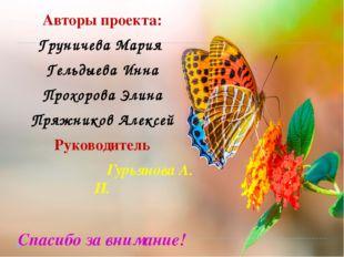 Авторы проекта: Груничева Мария Гельдыева Инна Прохорова Элина Пряжников Алек