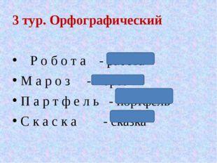 3 тур. Орфографический Р о б о т а - работа М а р о з - мороз П а р т ф е л ь