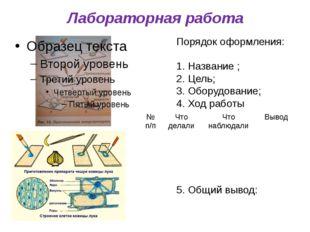Лабораторная работа Порядок оформления: Название ; Цель; Оборудование; Ход ра