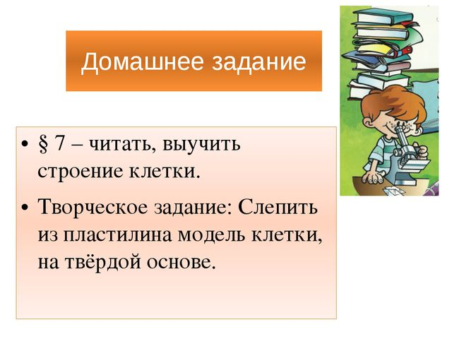 Домашнее задание § 7 – читать, выучить строение клетки. Творческое задание: С...
