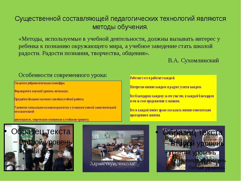 Существенной составляющей педагогических технологий являются методы обучения....