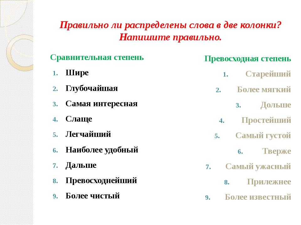 Правильно ли распределены слова в две колонки? Напишите правильно. Сравнител...