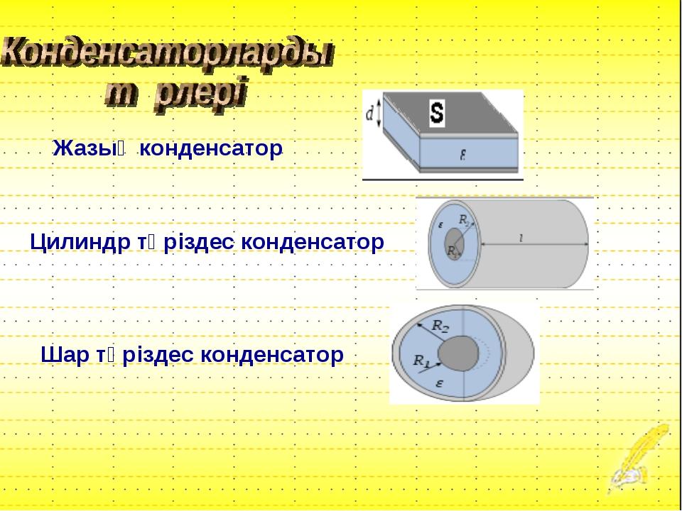 Жазық конденсатор Цилиндр тәріздес конденсатор Шар тәріздес конденсатор