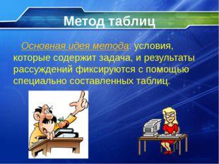 Метод таблиц Основная идея метода: условия, которые содержит задача, и резуль