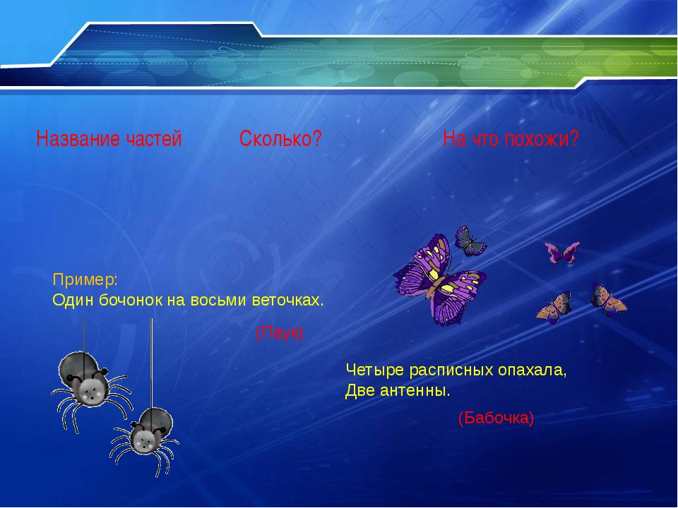 Пример: Один бочонок на восьми веточках. (Паук) Четыре расписных опахала, Дв...