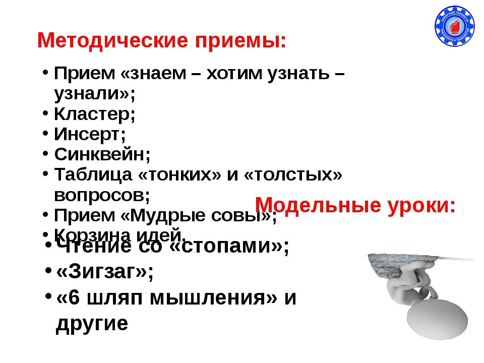 Методические приемы: Прием «знаем – хотим узнать – узнали»; Кластер; Инсерт;...