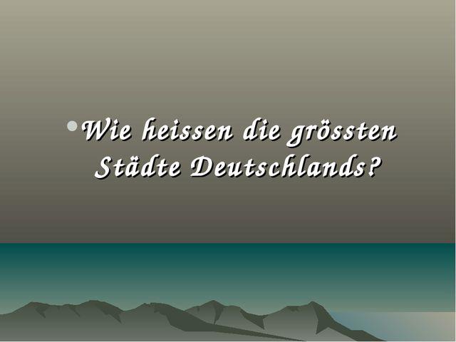 Wie heissen die grössten Städte Deutschlands?