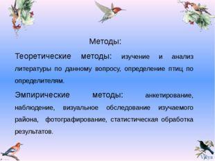 Методы: Теоретические методы: изучение и анализ литературы по данному вопрос