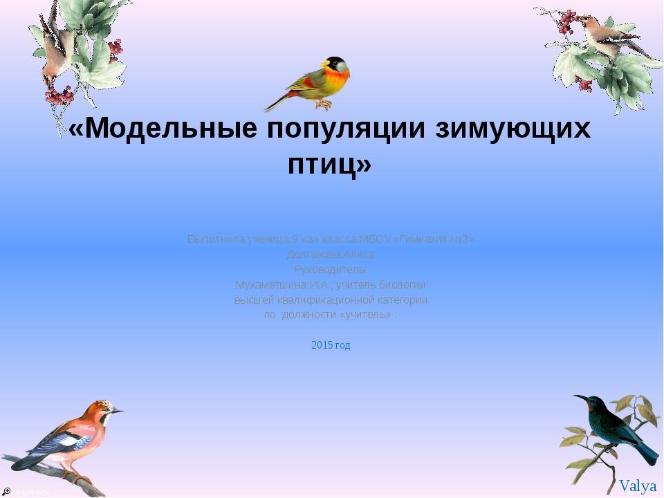 «Модельные популяции зимующих птиц» Выполнила ученица 9 «а» класса МБОУ «Гим...