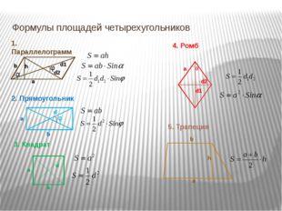 Формулы площадей четырехугольников 1. Параллелограмм 2. Прямоугольник 4. Ромб