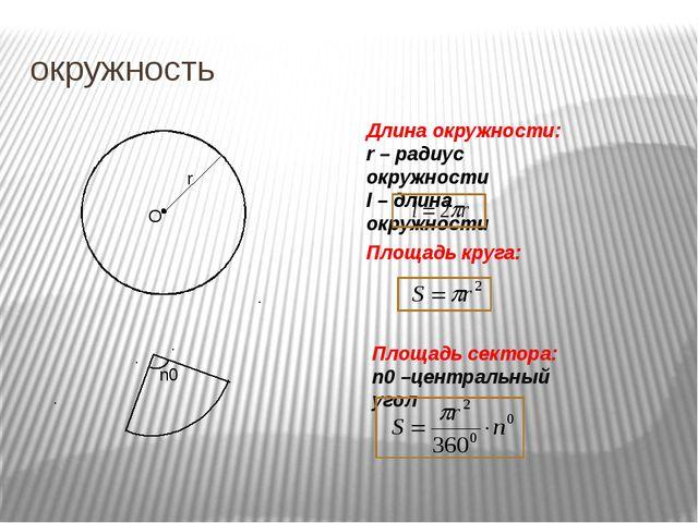 окружность О r Площадь круга: Длина окружности: r – радиус окружности l – дли...