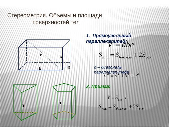 Стереометрия. Объемы и площади   поверхностей тел a b c d 1. Прямоугольный...