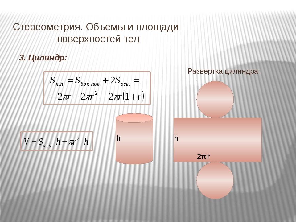 Стереометрия. Объемы и площади   поверхностей тел 3. Цилиндр: h 2πr Развер...