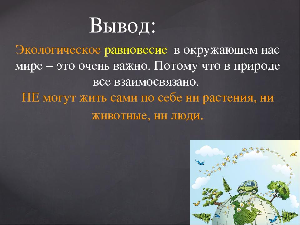 Вывод: Экологическое равновесие в окружающем нас мире – это очень важно. Пото...