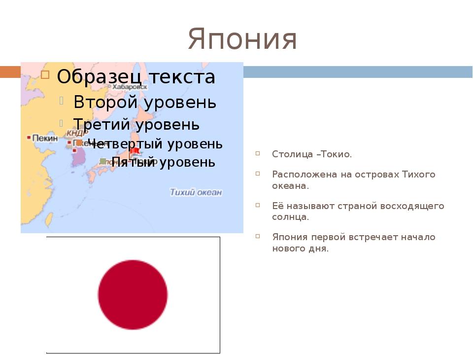 Япония Столица –Токио. Расположена на островах Тихого океана. Её называют стр...