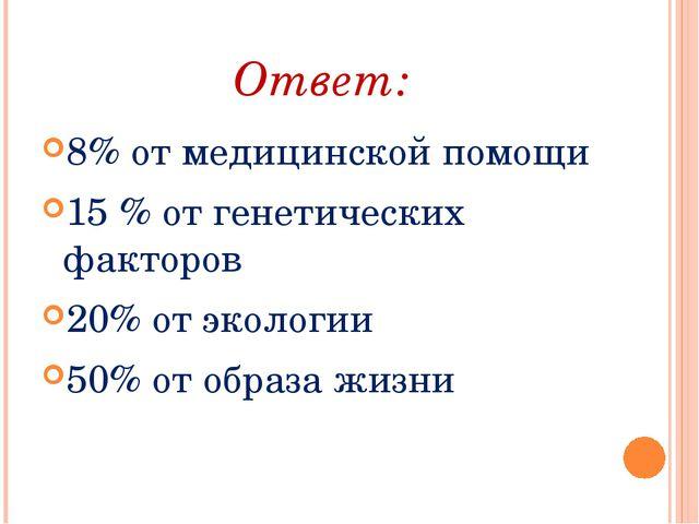 Ответ: 8% от медицинской помощи 15 % от генетических факторов 20% от экологии...