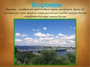 Воронеж - самобытный город со своим лицом, колоритом, духом. Он полноценная ч