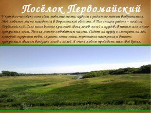 Посёлок Первомайский У каждого человека есть свои любимые места, куда он с ра