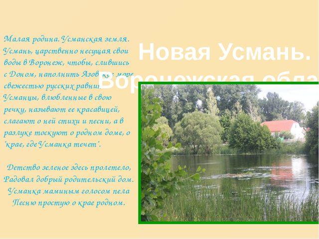 Малая родина. Усманская земля. Усмань, царственно несущая свои воды в Воронеж...