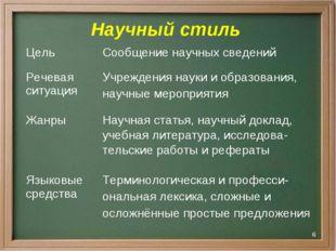 * Научный стиль ЦельСообщение научных сведений Речевая ситуацияУчреждения н