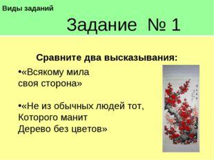 Виды заданий Задание № 1 Сравните два высказывания: «Всякому мила своя сто