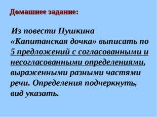 Домашнее задание: Из повести Пушкина «Капитанская дочка» выписать по 5 предло