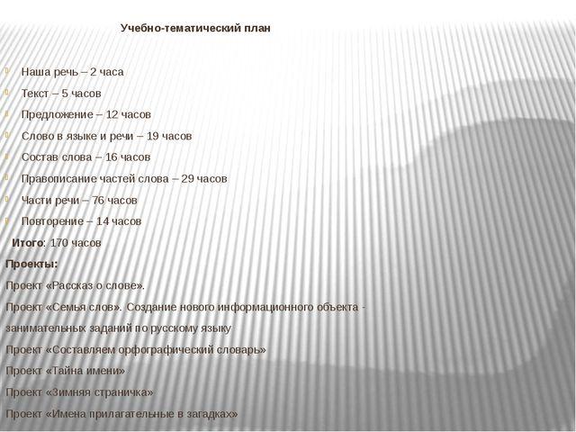 Учебно-тематический план Наша речь – 2 часа Текст – 5 часов Предложение – 12...