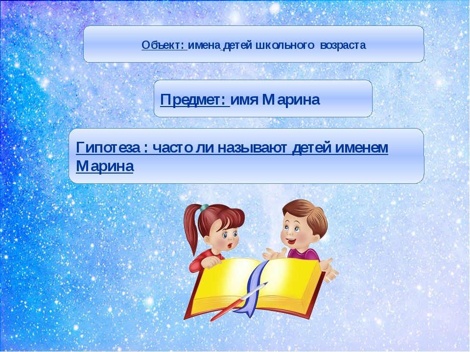 Объект: имена детей школьного возраста Предмет: имя Марина Гипотеза : часто...
