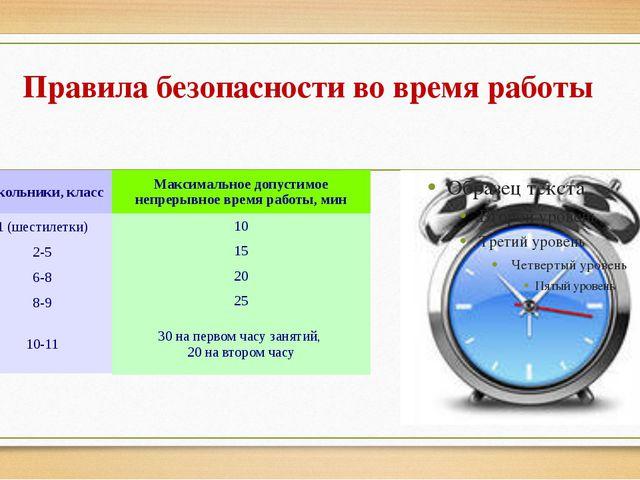 Правила безопасности во время работы Школьники, класс 1 (шестилетки) 2-5 6-8...