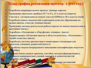 План-график реализации проекта ( 2015 год ) Разработка индивидуального проек
