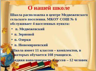 О нашей школе Школа расположена в центре Медвеженского сельского поселения.