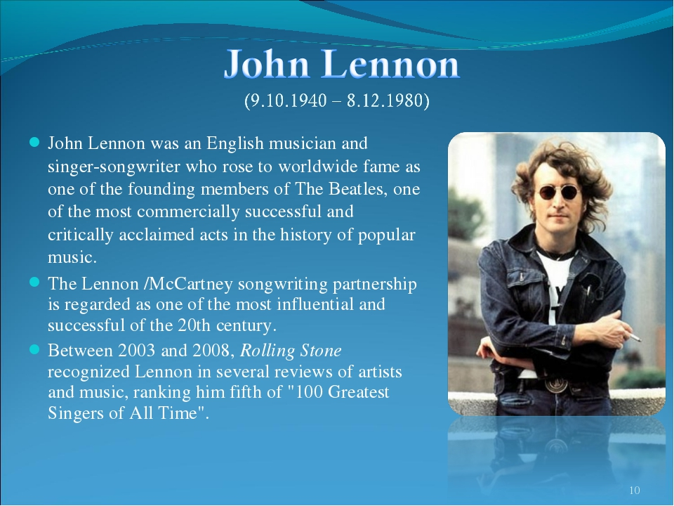 John Lennon was an English musician and singer-songwriter who rose to worldwi...