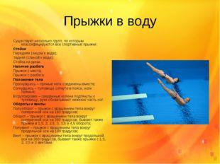 Прыжки в воду Существует несколько групп, по которым классифицируются все спо