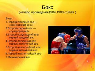 Бокс (начало проведения1904,1908,с1920г.) Виды: 1.Первый тяжёлый вес— «крейс