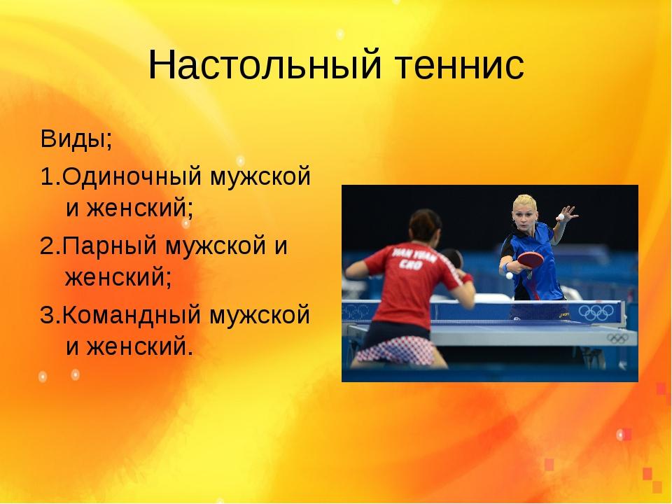 Настольный теннис Виды; 1.Одиночный мужской и женский; 2.Парный мужской и жен...