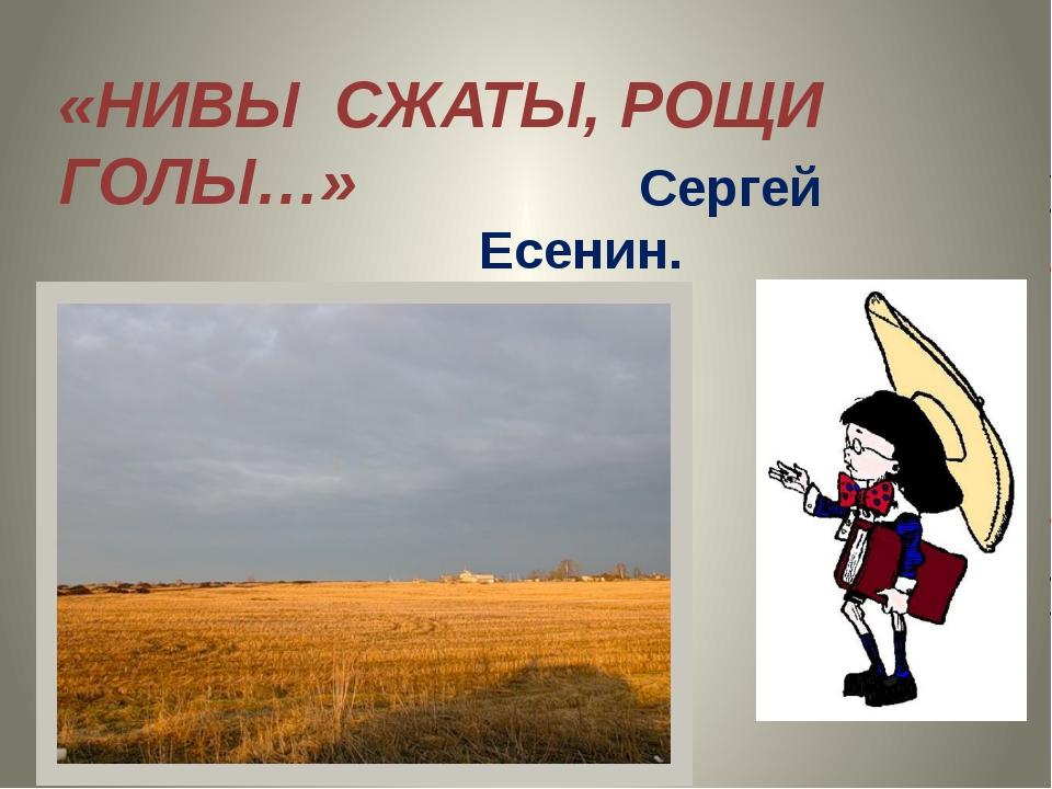 «НИВЫ СЖАТЫ, РОЩИ ГОЛЫ…» Сергей Есенин.