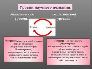 Уровни научного познания: Эмпирический уровень Теоретический уровень