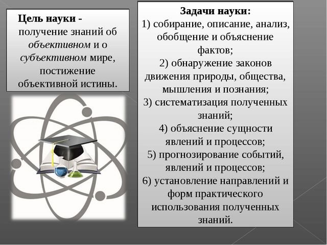 Задачи науки: 1) собирание, описание, анализ, обобщение и объяснение фактов;...