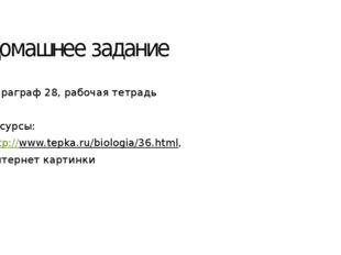 Домашнее задание Параграф 28, рабочая тетрадь Ресурсы: http://www.tepka.ru/bi