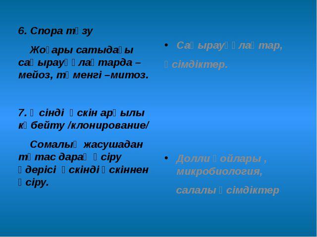 6. Спора түзу Жоғары сатыдағы саңырауқұлақтарда – мейоз, төменгі –митоз. 7. Ө...