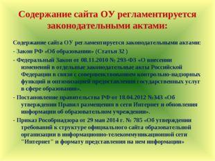 Содержание сайта ОУ регламентируется законодательными актами: Содержание сай
