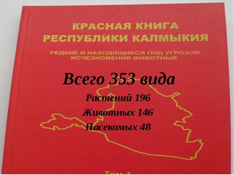 Всего 353 вида Растений 196 Животных 146 Насекомых 48