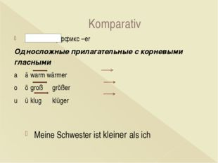 Komparativ + суффикс –er Односложные прилагательные с корневыми гласными aä