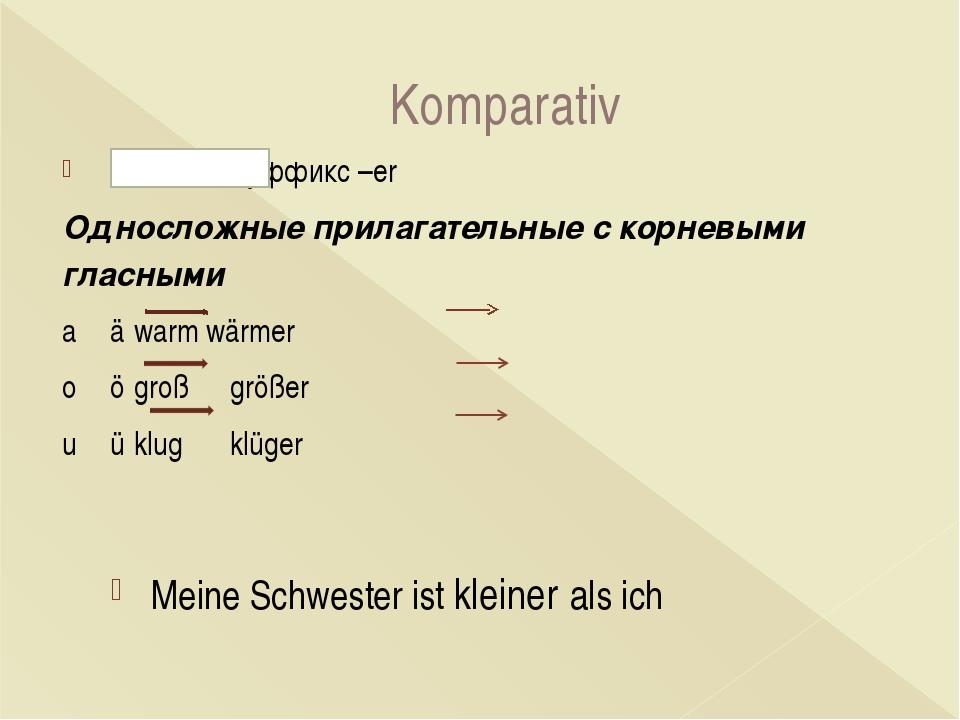 Komparativ + суффикс –er Односложные прилагательные с корневыми гласными aä...