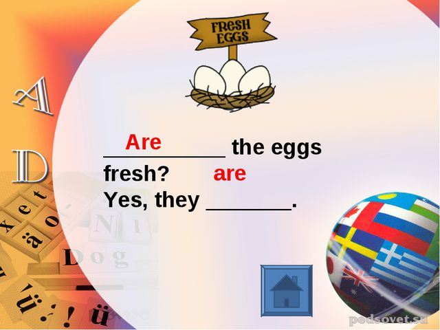 __________ the eggs fresh? Yes, they _______. Are are