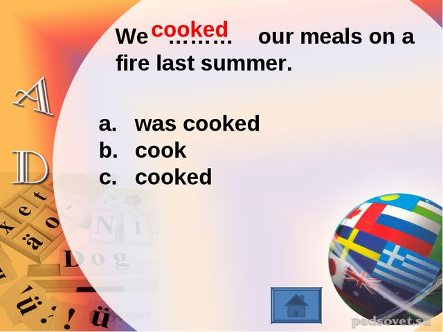 We ……… our meals on a fire last summer. was cooked cook cooked cooked