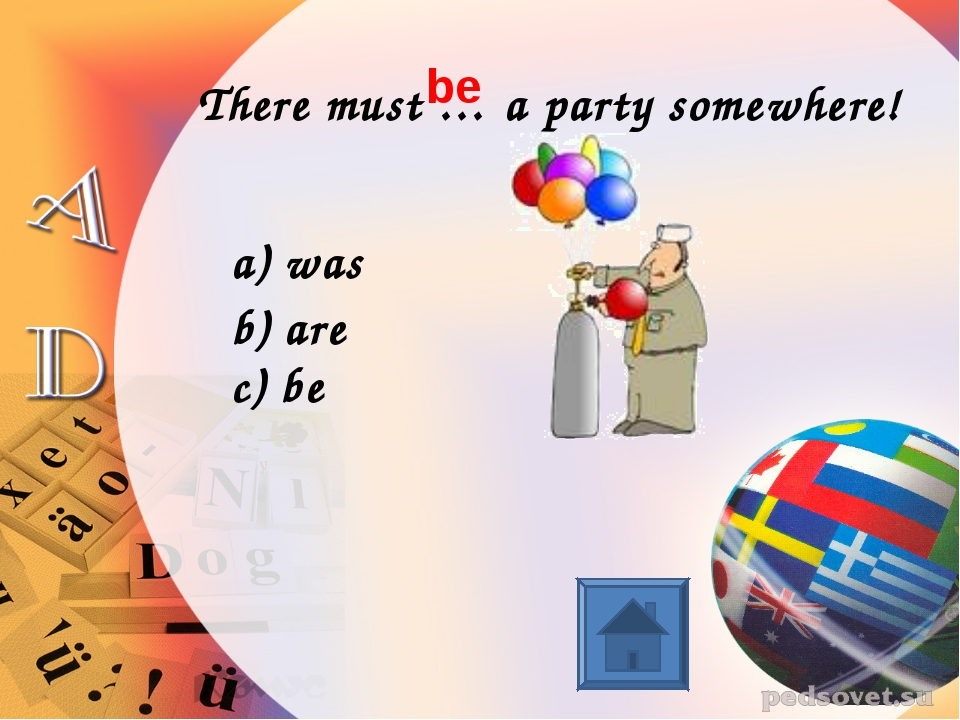 There must … a party somewhere! was are c) be be