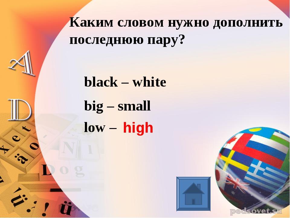 Каким словом нужно дополнить последнюю пару? black – white big – small low –...