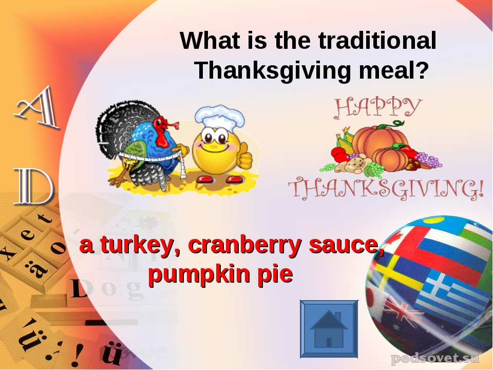 What is the traditional Thanksgiving meal? a turkey, cranberry sauce, pumpkin...