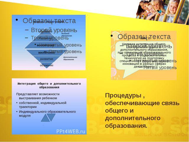 Процедуры , обеспечивающие связь общего и дополнительного образования.